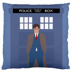Tenth Doctor And His Tardis Large Flano Cushion Case (one Side) by Samandel