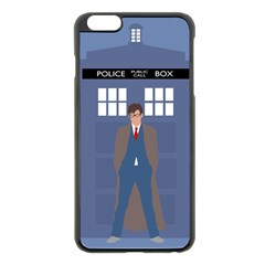 Tenth Doctor And His Tardis Apple Iphone 6 Plus/6s Plus Black Enamel Case