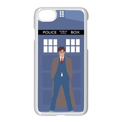Tenth Doctor And His Tardis Apple Iphone 8 Seamless Case (white) by Samandel