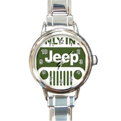 Only In A Jeep Logo Round Italian Charm Watch