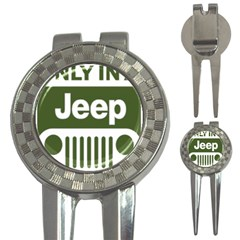 Only In A Jeep Logo 3 In 1 Golf Divots by Samandel