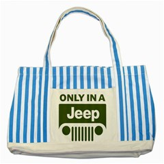Only In A Jeep Logo Striped Blue Tote Bag by Samandel