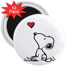 Snoopy Love 3  Magnets (10 Pack)