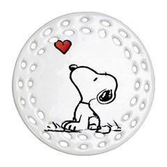 Snoopy Love Ornament (round Filigree) by Samandel