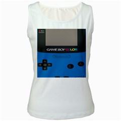 Game Boy Colour Blue Women s White Tank Top