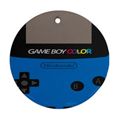 Game Boy Colour Blue Round Ornament (two Sides)