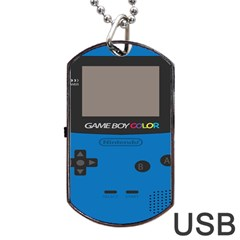 Game Boy Colour Blue Dog Tag Usb Flash (two Sides)