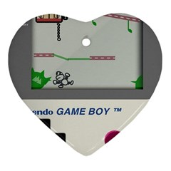 Game Boy White Heart Ornament (two Sides)