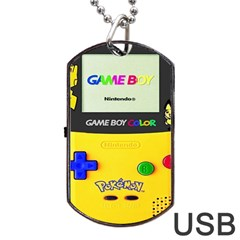 Game Boy Yellow Dog Tag Usb Flash (one Side)