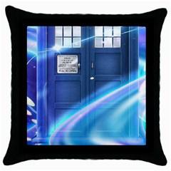 Tardis Space Throw Pillow Case (black)