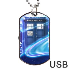 Tardis Space Dog Tag Usb Flash (two Sides) by Samandel