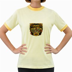 Tattoo Art Print Traditional Artwork Lighthouse Wave Women s Fitted Ringer T Shirts by Sapixe