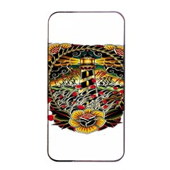 Tattoo Art Print Traditional Artwork Lighthouse Wave Apple Iphone 4/4s Seamless Case (black) by Sapixe