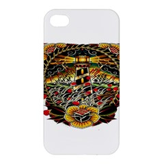Tattoo Art Print Traditional Artwork Lighthouse Wave Apple Iphone 4/4s Hardshell Case by Sapixe