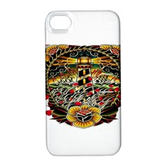 Tattoo Art Print Traditional Artwork Lighthouse Wave Apple Iphone 4/4s Hardshell Case With Stand by Sapixe