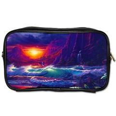 Sunset Orange Sky Dark Cloud Sea Waves Of The Sea, Rocky Mountains Art Toiletries Bags 2 Side by Sapixe