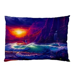 Sunset Orange Sky Dark Cloud Sea Waves Of The Sea, Rocky Mountains Art Pillow Case (two Sides) by Sapixe