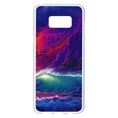 Sunset Orange Sky Dark Cloud Sea Waves Of The Sea, Rocky Mountains Art Samsung Galaxy S8 Plus White Seamless Case by Sapixe