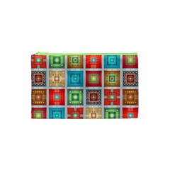 Tiles Pattern Background Colorful Cosmetic Bag (xs)