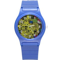 Technology Circuit Board Round Plastic Sport Watch (s) by Sapixe
