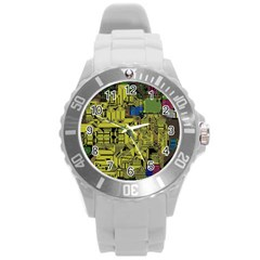 Technology Circuit Board Round Plastic Sport Watch (l) by Sapixe