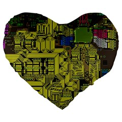 Technology Circuit Board Large 19  Premium Flano Heart Shape Cushions by Sapixe