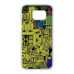 Technology Circuit Board Samsung Galaxy S7 Edge White Seamless Case by Sapixe