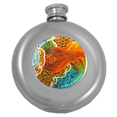 The Beautiful Of Art Indonesian Batik Pattern Round Hip Flask (5 Oz) by Sapixe