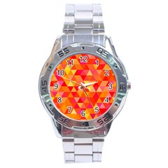 Triangle Tile Mosaic Pattern Stainless Steel Analogue Watch by Sapixe
