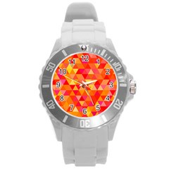 Triangle Tile Mosaic Pattern Round Plastic Sport Watch (l) by Sapixe