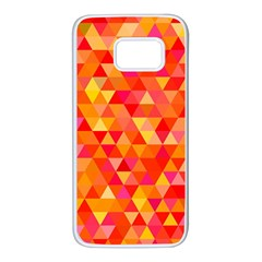 Triangle Tile Mosaic Pattern Samsung Galaxy S7 White Seamless Case by Sapixe