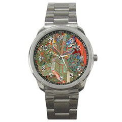 Traditional Korean Painted Paterns Sport Metal Watch by Sapixe