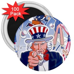 United States Of America Celebration Of Independence Day Uncle Sam 3  Magnets (100 Pack) by Sapixe