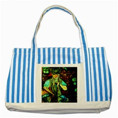 Girl In The Bar Striped Blue Tote Bag