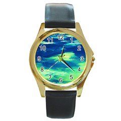 Sky Is The Limit Round Gold Metal Watch by bestdesignintheworld