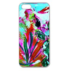 Desrt Blooming With Red Cactuses Apple Seamless Iphone 5 Case (clear) by bestdesignintheworld