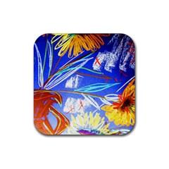 Ceramic Jur And Sunlowers Rubber Coaster (square)  by bestdesignintheworld
