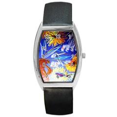 Ceramic Jur And Sunlowers Barrel Style Metal Watch by bestdesignintheworld