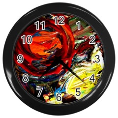 Red Sun In The Mountain Wall Clocks (black) by bestdesignintheworld