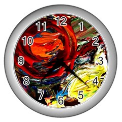 Red Sun In The Mountain Wall Clocks (silver)
