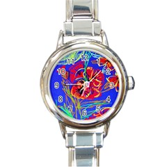 Red Poppies Round Italian Charm Watch by bestdesignintheworld