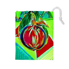 Dscf1458   Fruits Geometry Drawstring Pouches (large)  by bestdesignintheworld
