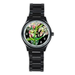 Dscf1389   Lillies In The Vase Stainless Steel Round Watch by bestdesignintheworld