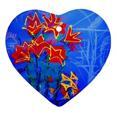 Dscf1433   Red Lillies Ornament (heart) by bestdesignintheworld