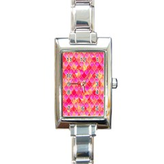 Squama Fhis Paint Flower Of Life Pattern Rectangle Italian Charm Watch by Cveti