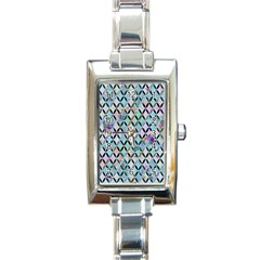 Rhomboids Flower Of Life Paint Pattern Rectangle Italian Charm Watch by Cveti
