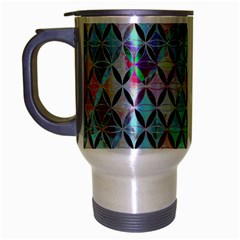 Rhomboids Flower Of Life Paint Pattern Travel Mug (silver Gray) by Cveti