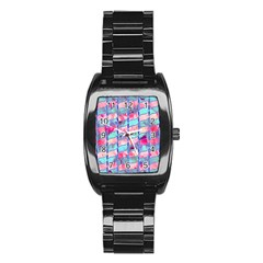 Leaves Paint Flower Of Life 01 Stainless Steel Barrel Watch by Cveti