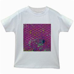 Flower Of Life Paint Purple  Kids White T Shirts by Cveti