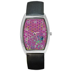 Flower Of Life Paint Purple  Barrel Style Metal Watch by Cveti